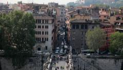 Rome and St Angelo Bridge Stock Footage