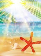 Stock Illustration of Seaside view poster.