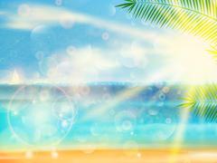 Stock Illustration of Vintage seaside view poster.
