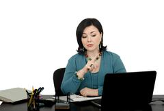 Woman working an online investment counselor Stock Photos