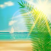 Tropical beach template. - stock illustration