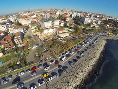 Aerial istanbul from waterside. residential housing and coast way along bosph Stock Photos
