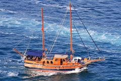 Bodrum gulet yacht. traditional turkish design, two masted wooden sailing boa Stock Photos