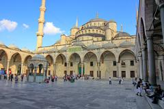 Istanbul - jul 15: tourists visit blue mosque on july 15, 2013 in istanbul. i Stock Photos