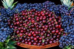 Cherries at fruit market Stock Photos