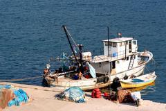 Fisher cutter on port amasra. blacksea region. Stock Photos