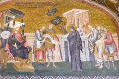 mosaic of the enrollment for taxation before zyrenius - stock photo