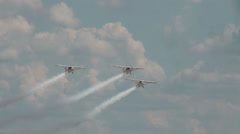 3x Ikarus C42b airshow cloudy sky flight demonstration Stock Footage
