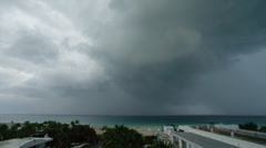 USA, Florida, Miami, Miami South Beach under storm clouds Stock Footage