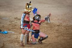 thracian gladiator begged for mercy - stock photo