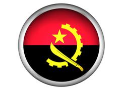 National Flag of Angola . Button Style . Stock Photos