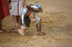 The gladiator begged for mercy Stock Photos