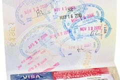 Passport with US visa  Stock Photos