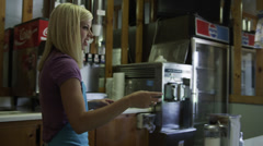 SLO MO MS Barmaid serving customer / Koosharem, Utah, USA Stock Footage