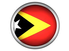 Stock Photo of National Flag of East Timor . Button Style .