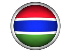 National Flag of Gambia . Button Style . Stock Photos