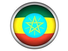 National Flag of Ethiopia . Button Style . - stock photo