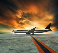 Jet plane flying over runways and beautiful dusky sky with copy space use for Stock Illustration