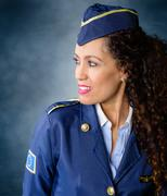 flight attendant. - stock photo