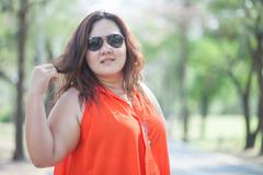Close up of happy fatty woman Stock Photos