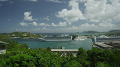 WS HA Cruise ship in harbor / Castries, St. Lucius, Stock Footage