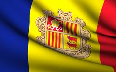 Flying Flag of Andorra . All Countries Collection . - stock photo