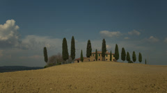 Time lapse of shadows moving across Italian farmland / Piensa, Tuscany, Italy Stock Footage