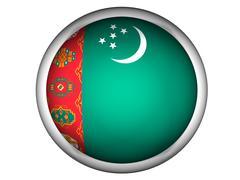 National Flag of Turkmenistan . Button Style . Stock Photos