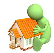 Puppet, embracing home - stock illustration