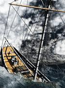 Pirate brigantine Stock Illustration