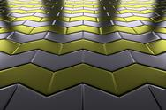 Stock Illustration of metal with gold arrows blocks flooring perspective view
