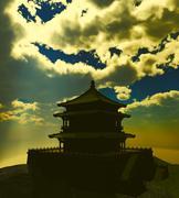 Zen buddhist temple in the mountains - stock illustration