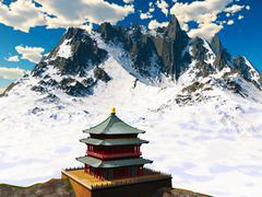 Zen buddhist temple in mountains - stock illustration