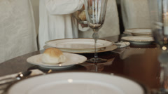 MS DS TU Girl (8-9) setting table in dining room / Cedar Hills,Utah,USA Stock Footage