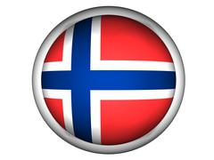 National Flag of Norway . Button Style . Stock Photos