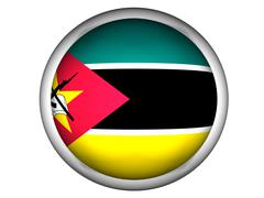 National Flag of Mozambique . Button Style . - stock photo