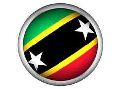 National Flag of Saint Kitts and Nevis . Button Style . Stock Photos