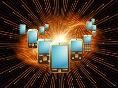 Stock Illustration of Cellular Phone World
