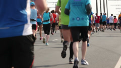 Nordea Riga marathon runners, 18.05.2014 - stock footage