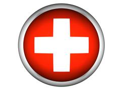 National Flag of Switzerland . Button Style . Stock Photos
