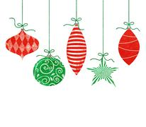 Stock Illustration of Cute Retro Christmas Ornaments on White