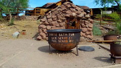 Old West Chinese Bathtub- Calico Ghost Town Regional Park Stock Footage