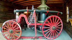 Old West Fire Wagon- Calico Ghost Town Regional Park Stock Footage