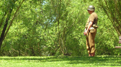 US infantry patrols during the reenactment of Normandy 11 Stock Footage