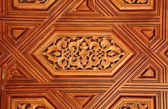 Antique carved wooden ornament in Alhambra, Spain Stock Illustration