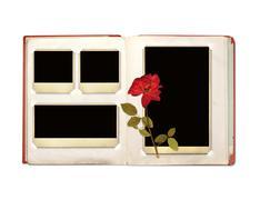 Photo album with retro photos and rose - stock illustration