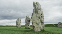 Medium shot of ancient stones in formation / Avebury, England, United Kingdom Stock Footage