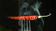 Stock Video Footage of Chilli pepper with smoke