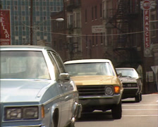 ATLANTA - 1980s traffic street corner, historic and modern high rise buildings Stock Footage