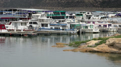 Navajo Lake Marina house boats recreation HD Stock Footage